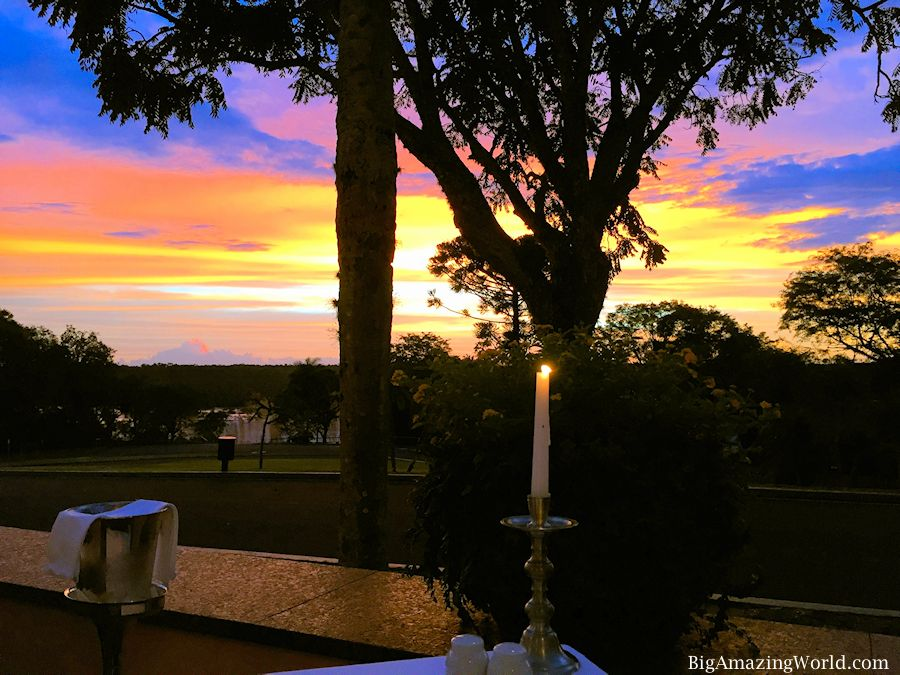 Sunset Candle light dinner at the Belmond Hotel overlooking Iguazu Falls.