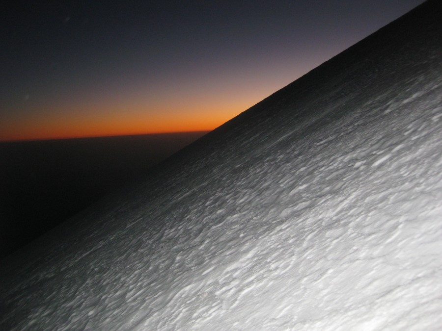 Sunrise at 17,000 feet on the Jampa Glacier ascent.